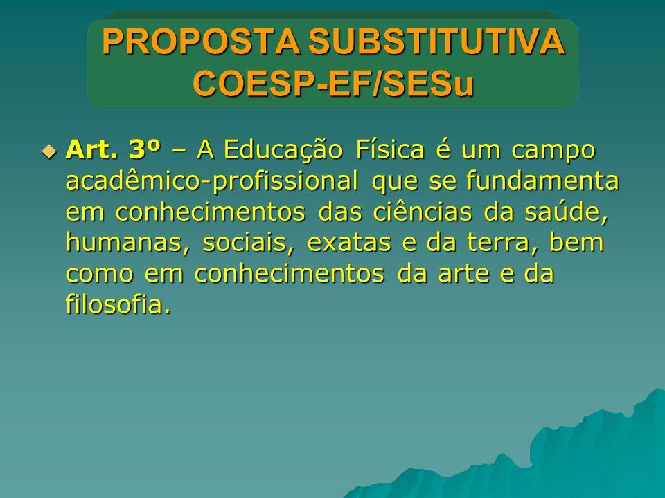 PROPOSTA SUBSTITUTIVA COESP-EF/SESu  Art. 3º – A Educação Física é um campo acadêmico-profissional que se fundamenta em conhecimentos das ciências da
