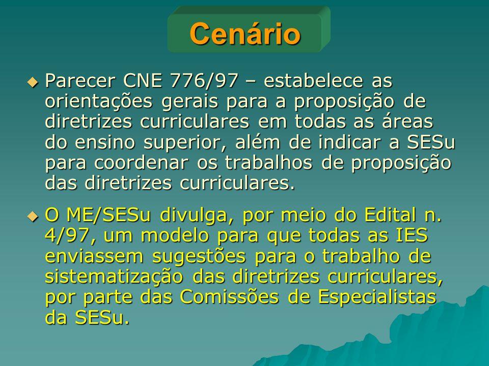 Cenário  Parecer CNE 776/97 – estabelece as orientações gerais para a proposição de diretrizes curriculares em todas as áreas do ensino superior, alé