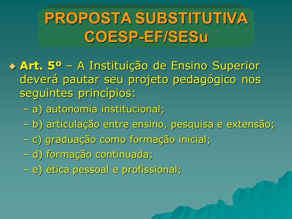 PROPOSTA SUBSTITUTIVA COESP-EF/SESu  Art. 5º – A Instituição de Ensino Superior deverá pautar seu projeto pedagógico nos seguintes princípios: –a) au