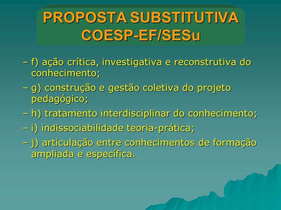 PROPOSTA SUBSTITUTIVA COESP-EF/SESu –f) ação crítica, investigativa e reconstrutiva do conhecimento; –g) construção e gestão coletiva do projeto pedag