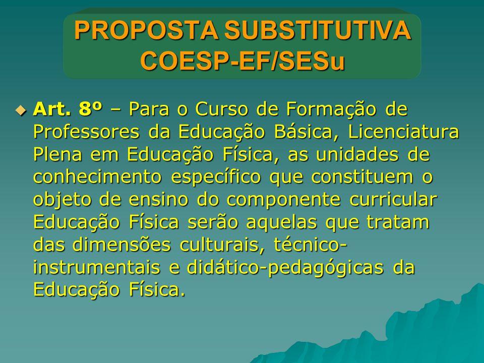 PROPOSTA SUBSTITUTIVA COESP-EF/SESu  Art. 8º – Para o Curso de Formação de Professores da Educação Básica, Licenciatura Plena em Educação Física, as