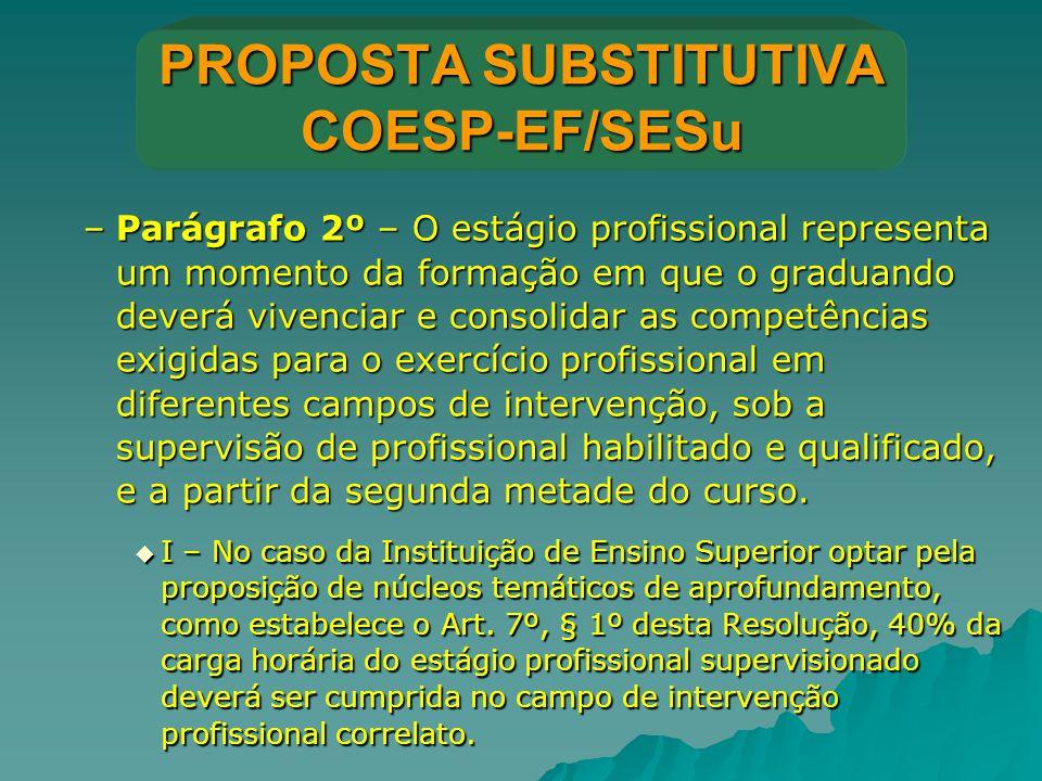 PROPOSTA SUBSTITUTIVA COESP-EF/SESu –Parágrafo 2º – O estágio profissional representa um momento da formação em que o graduando deverá vivenciar e con