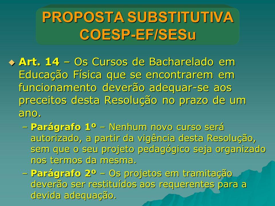 PROPOSTA SUBSTITUTIVA COESP-EF/SESu  Art. 14 – Os Cursos de Bacharelado em Educação Física que se encontrarem em funcionamento deverão adequar-se aos