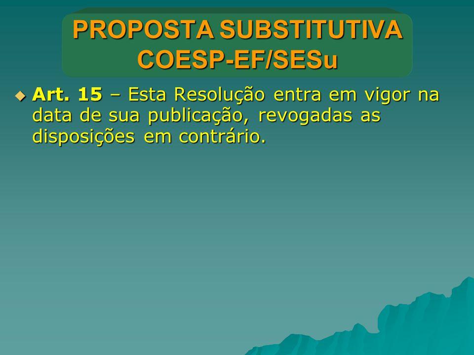 PROPOSTA SUBSTITUTIVA COESP-EF/SESu  Art. 15 – Esta Resolução entra em vigor na data de sua publicação, revogadas as disposições em contrário.