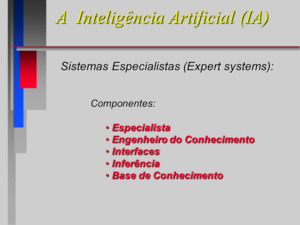 A Inteligência Artificial (IA) Sistemas Especialistas (Expert systems): Componentes: Especialista Especialista Engenheiro do Conhecimento Engenheiro do Conhecimento Interfaces Interfaces Inferência Inferência Base de Conhecimento Base de Conhecimento
