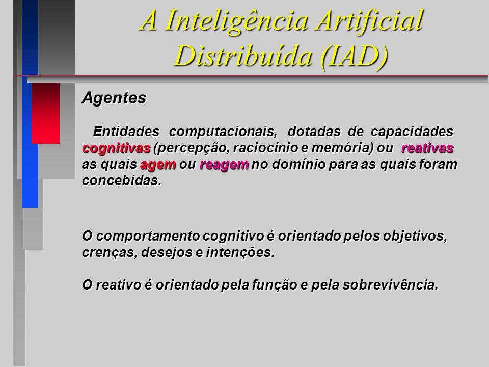 A Inteligência Artificial Distribuída (IAD) Agentes Entidades computacionais, dotadas de capacidades Entidades computacionais, dotadas de capacidades cognitivas (percepção, raciocínio e memória) ou reativas as quais agem ou reagem no domínio para as quais foram concebidas.