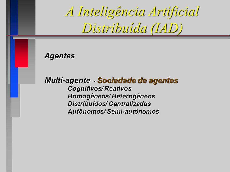 A Inteligência Artificial Distribuída (IAD) Agentes Multi-agente - Sociedade de agentes Cognitivos/ Reativos Homogêneos/ Heterogêneos Distribuídos/ Centralizados Autônomos/ Semi-autônomos