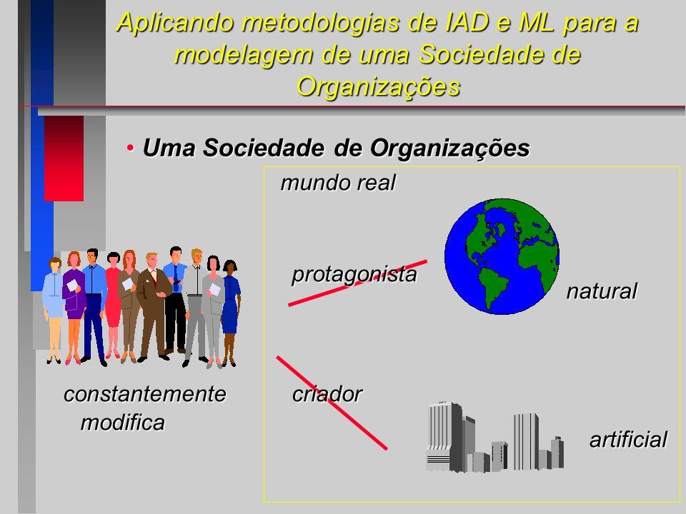Aplicando metodologias de IAD e ML para a modelagem de uma Sociedade de Organizações Uma Sociedade de Organizações Uma Sociedade de Organizações protagonista criador natural artificial constantemente modifica mundo real