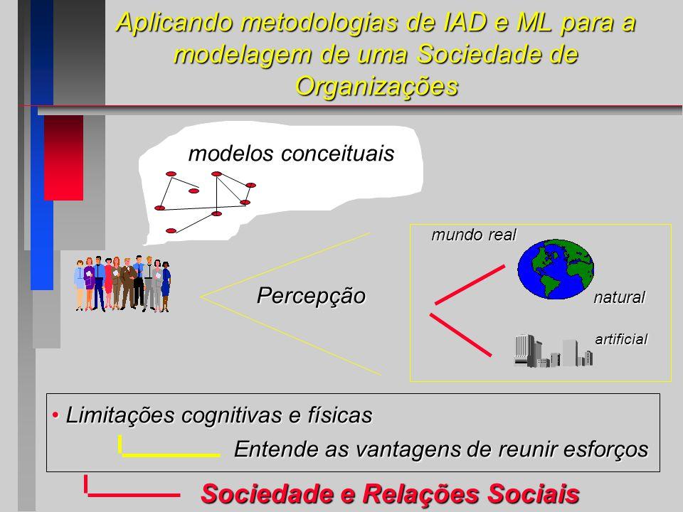 Aplicando metodologias de IAD e ML para a modelagem de uma Sociedade de Organizações natural artificial mundo real Percepção modelos conceituais Limitações cognitivas e físicas Limitações cognitivas e físicas Entende as vantagens de reunir esforços Sociedade e Relações Sociais