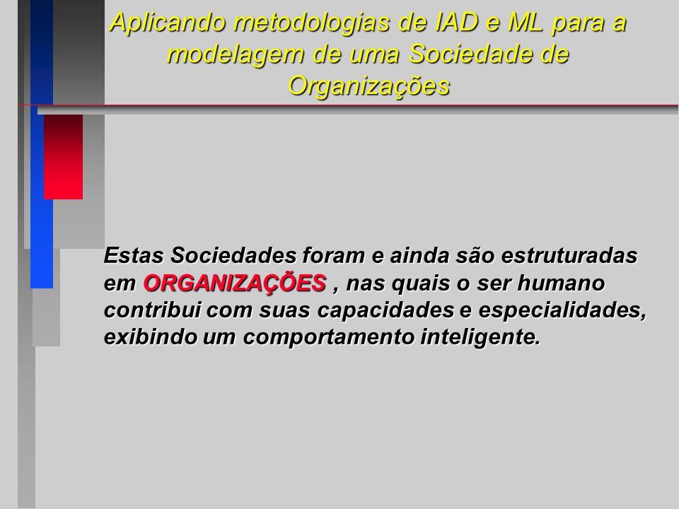 Aplicando metodologias de IAD e ML para a modelagem de uma Sociedade de Organizações Estas Sociedades foram e ainda são estruturadas em ORGANIZAÇÕES, nas quais o ser humano contribui com suas capacidades e especialidades, exibindo um comportamento inteligente.