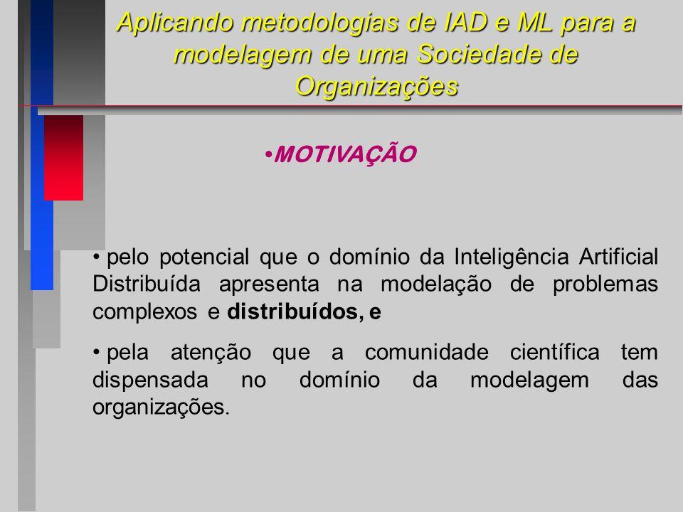 Aplicando metodologias de IAD e ML para a modelagem de uma Sociedade de Organizações pelo potencial que o domínio da Inteligência Artificial Distribuída apresenta na modelação de problemas complexos e distribuídos, e pela atenção que a comunidade científica tem dispensada no domínio da modelagem das organizações.