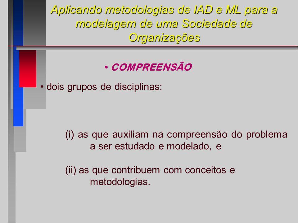 Aplicando metodologias de IAD e ML para a modelagem de uma Sociedade de Organizações dois grupos de disciplinas: (i) as que auxiliam na compreensão do problema a ser estudado e modelado, e (ii) as que contribuem com conceitos e metodologias.