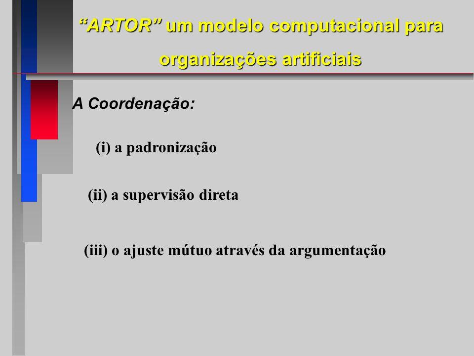 (i) a padronização (ii) a supervisão direta (iii) o ajuste mútuo através da argumentação A Coordenação: ARTOR um modelo computacional para organizações artificiais