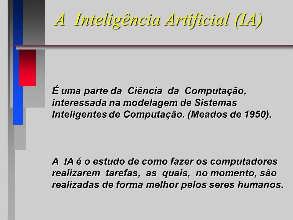 A Inteligência Artificial (IA) É uma parte da Ciência da Computação, interessada na modelagem de Sistemas Inteligentes de Computação.