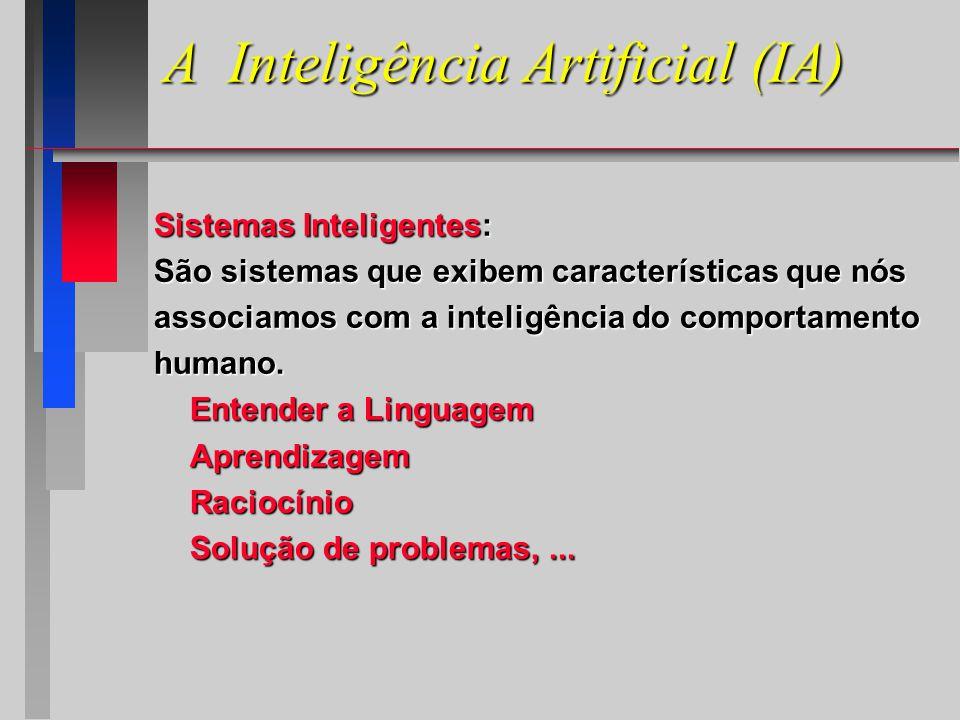 Sistemas Inteligentes: São sistemas que exibem características que nós associamos com a inteligência do comportamento humano.