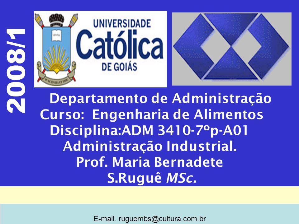 Departamento de Administração Curso: Engenharia de Alimentos Disciplina:ADM 3410-7ºp-A01 Administração Industrial.