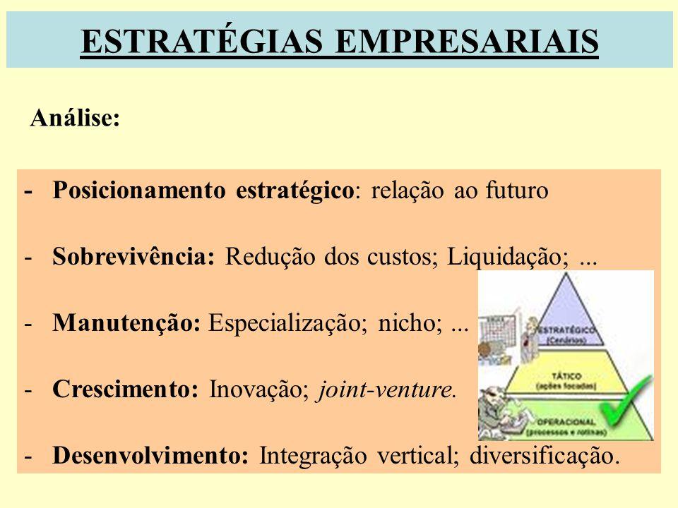 ESTRATÉGIAS Estratégia: É o ajustamento da empresa ao seu ambiente (ambiente em constante mutação) Que destino devo dar à empresa e como devo estabele