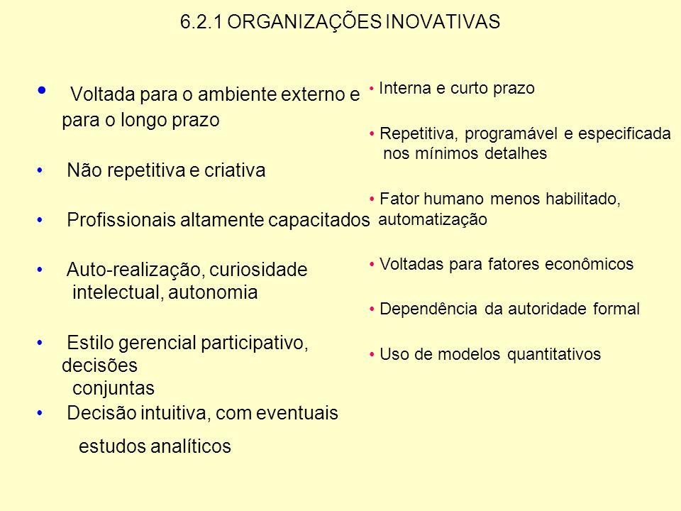 6.2 ORGANIZAÇÕES INOVATIVAS Resultados MORAL PERFORMANCE O Ambiente COMPLEXIDADE DINÂMICA GRUPOS DE INFLUÊNCIA A Organização ESTRATÉGIA-ESTRUTURA SIST