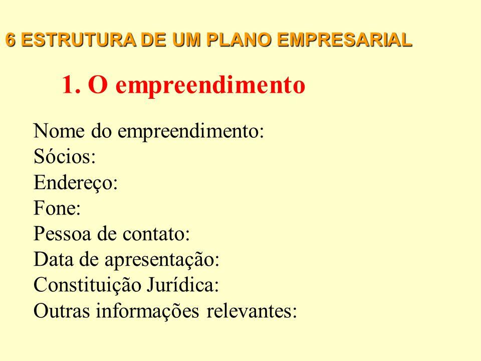 6 ESTRUTURA DE UM PLANO EMPRESARIAL 15. Plano Financeiro 16. Parceiros 17. Empreendedores 18. Fases do empreendimento 21. Anexos 19. Visão do futuro 2