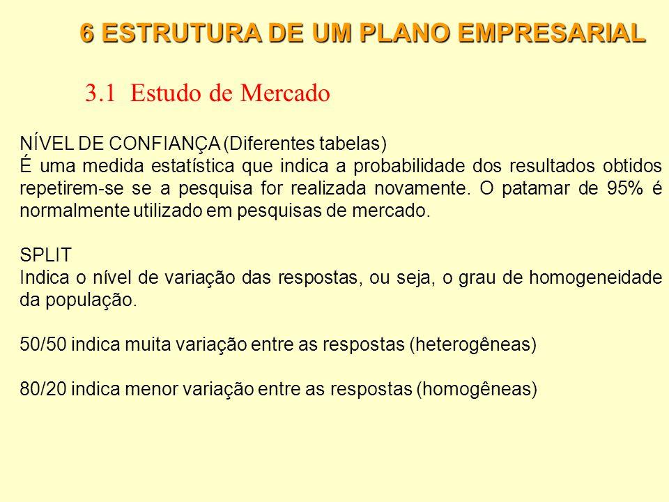 6 ESTRUTURA DE UM PLANO EMPRESARIAL 3.1 Estudo de Mercado O cálculo do tamanho da amostra depende de algumas variáveis que influenciam na sua formulaç