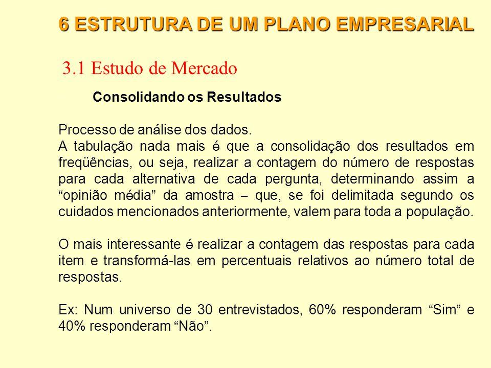 6 ESTRUTURA DE UM PLANO EMPRESARIAL 3.1 Estudo de Mercado · Escalas Nominais: atribuem nomes ou números às variáveis pesquisadas, com o objetivo de si