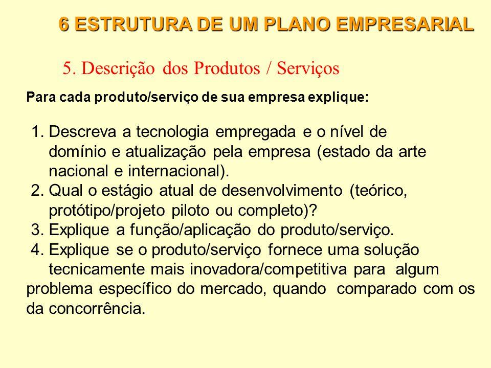 6 ESTRUTURA DE UM PLANO EMPRESARIAL 4. A Concorrência 6. Verifique cada concorrente nos seguintes pontos: estratégia de preço; estratégia de distribui