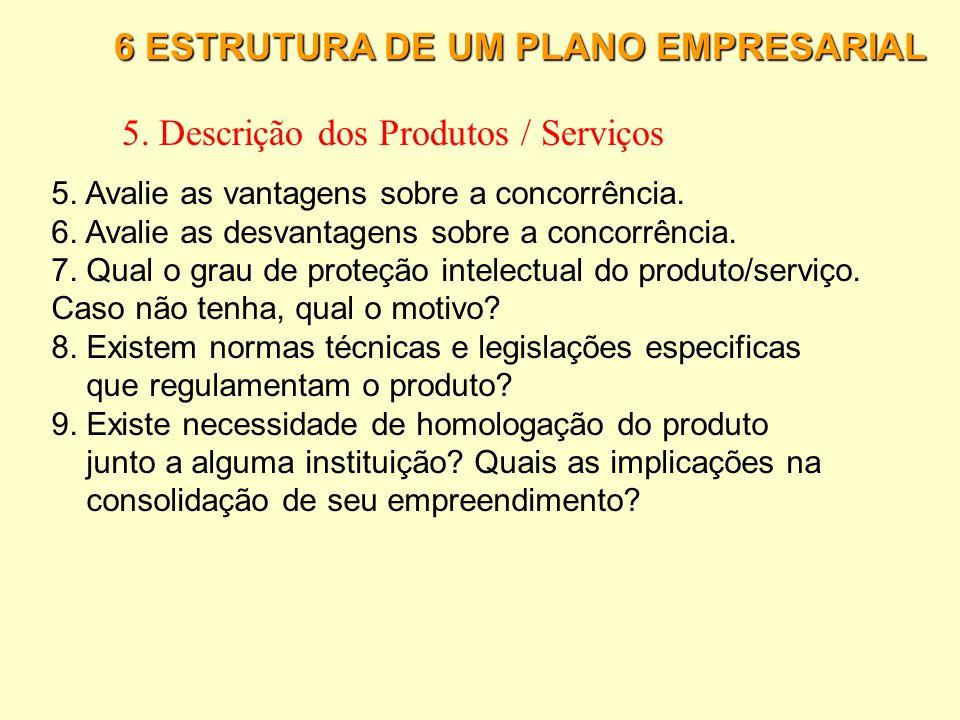 6 ESTRUTURA DE UM PLANO EMPRESARIAL 5. Descrição dos Produtos / Serviços Para cada produto/serviço de sua empresa explique: 1. Descreva a tecnologia e