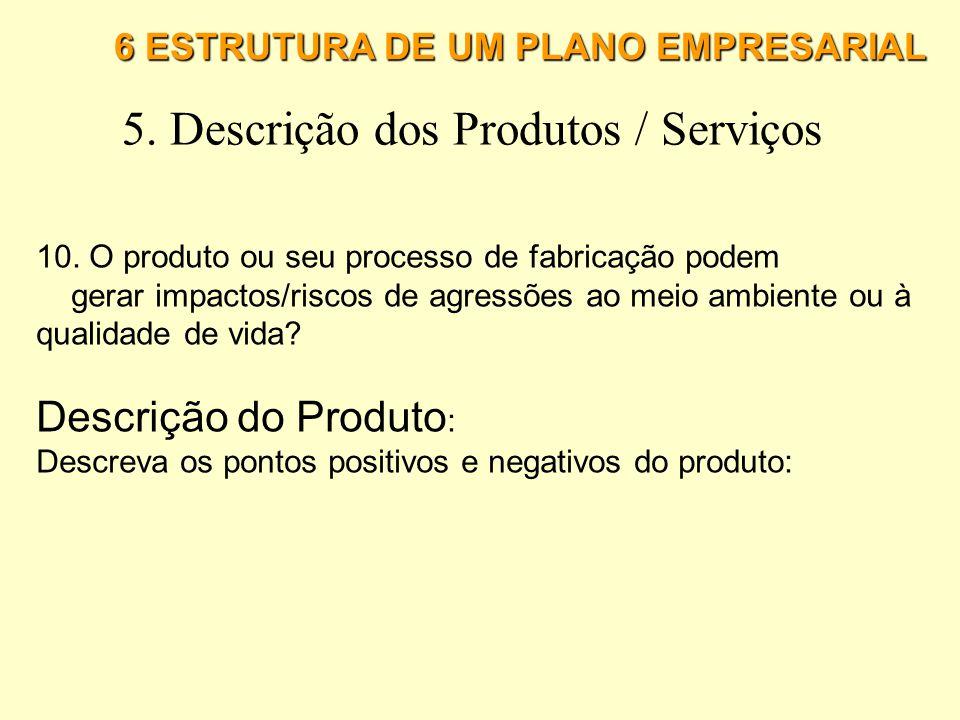 6 ESTRUTURA DE UM PLANO EMPRESARIAL 5. Descrição dos Produtos / Serviços 5. Avalie as vantagens sobre a concorrência. 6. Avalie as desvantagens sobre