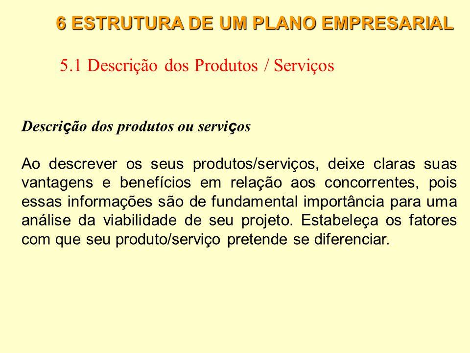 6 ESTRUTURA DE UM PLANO EMPRESARIAL 5.1 Descrição dos Produtos / Serviços O que deve ser projetado em um produto ou servi ç o Segundo Slack (1997), qu