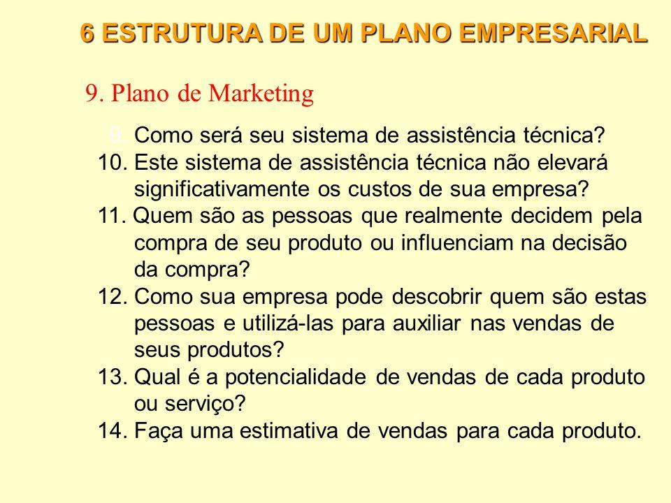 6 ESTRUTURA DE UM PLANO EMPRESARIAL 9. Plano de Marketing 1.Quem são seus clientes potenciais e onde estão localizados? 2. Como pretende atrair os cli