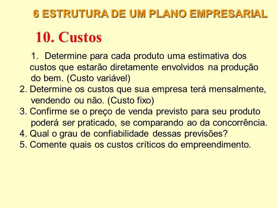 6 ESTRUTURA DE UM PLANO EMPRESARIAL 9. Plano de Marketing 15. Plano de Marketing/Comercial: 16. Estimativa de venda de cada produto: 17. Estimativa de