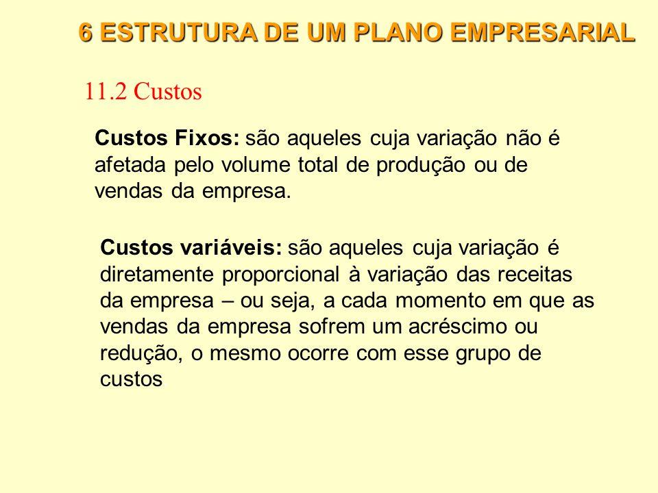 6 ESTRUTURA DE UM PLANO EMPRESARIAL 11.1 Investimentos