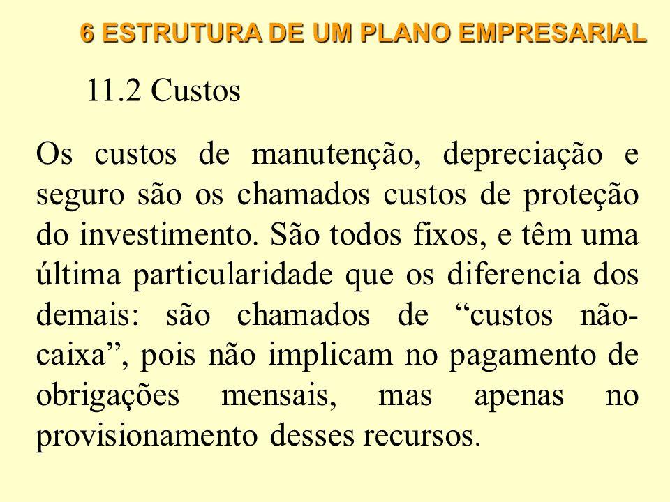 6 ESTRUTURA DE UM PLANO EMPRESARIAL 11.2 Custos Custos Fixos: são aqueles cuja variação não é afetada pelo volume total de produção ou de vendas da em