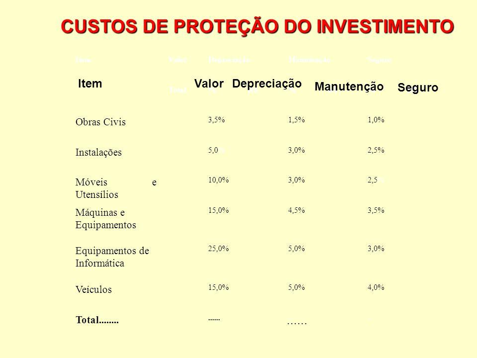 6 ESTRUTURA DE UM PLANO EMPRESARIAL 11.2 Custos Os custos de manutenção, depreciação e seguro são os chamados custos de proteção do investimento. São