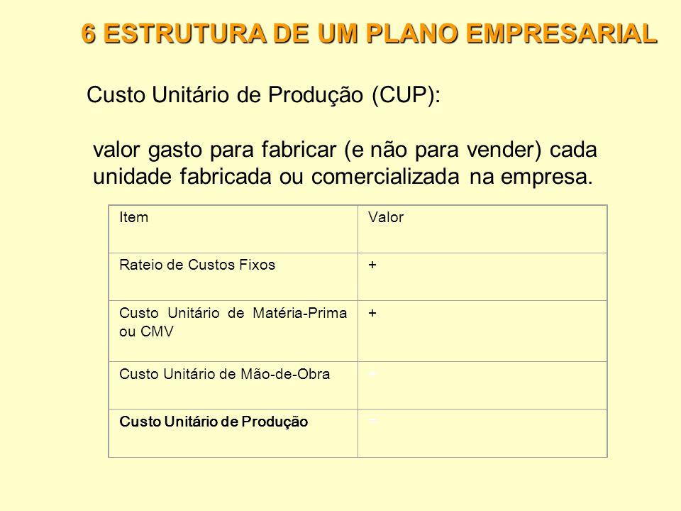 6 ESTRUTURA DE UM PLANO EMPRESARIAL Rateio de= Custos Fixos Custo Fixo Total / (ano) Quantidade de unidades vendidas (ano) Custo Unitário Variável de