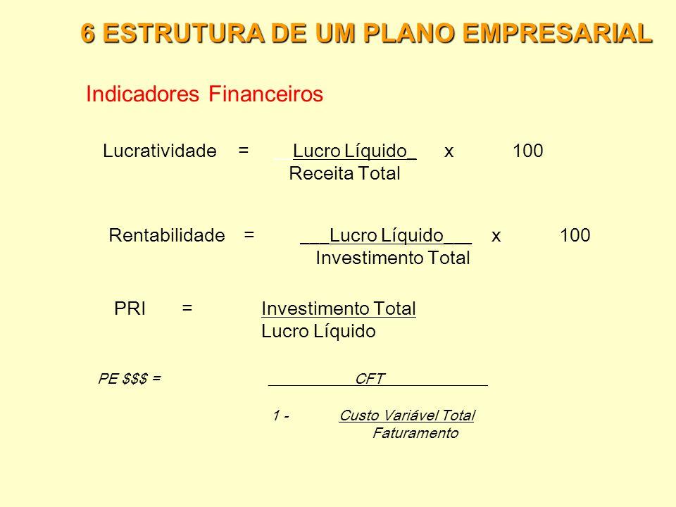 6 ESTRUTURA DE UM PLANO EMPRESARIAL Demonstrativo de Resultados  Receita de Vendas (-) Custos de comercialização (impostos) (=) Receita Líquida (-) C
