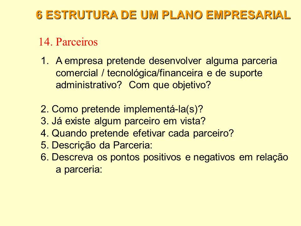 6 ESTRUTURA DE UM PLANO EMPRESARIAL 13. Plano Financeiro 6.Elabore uma previsão de entrada e saída de recurso, utilizando os dados já apontados anteri