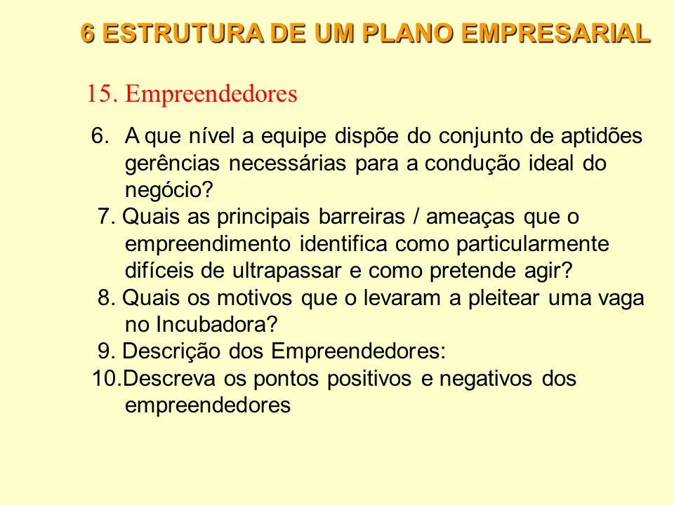 6 ESTRUTURA DE UM PLANO EMPRESARIAL 15. Empreendedores 1. Anexe ao presente Plano o Curriculum Vitae dos empreendedores. 2.Qual a experiência dos empr