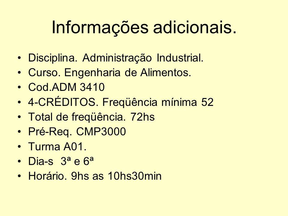 Departamento de Administração Curso: Engenharia de Alimentos Disciplina:ADM 3410-7ºp-A01 Administração Industrial. Prof. Maria Bernadete S.Ruguê MSc.