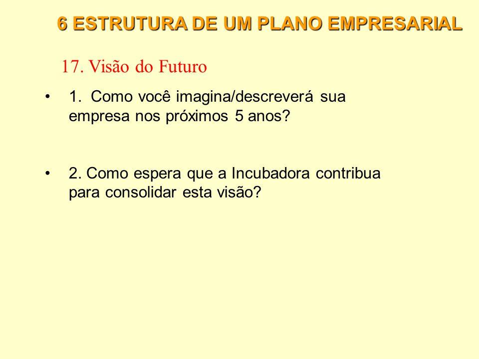 6 ESTRUTURA DE UM PLANO EMPRESARIAL 16. Fases do Empreendimento 5. Qual o tempo provável de desenvolvimento de cada fase do empreendimento, consideran