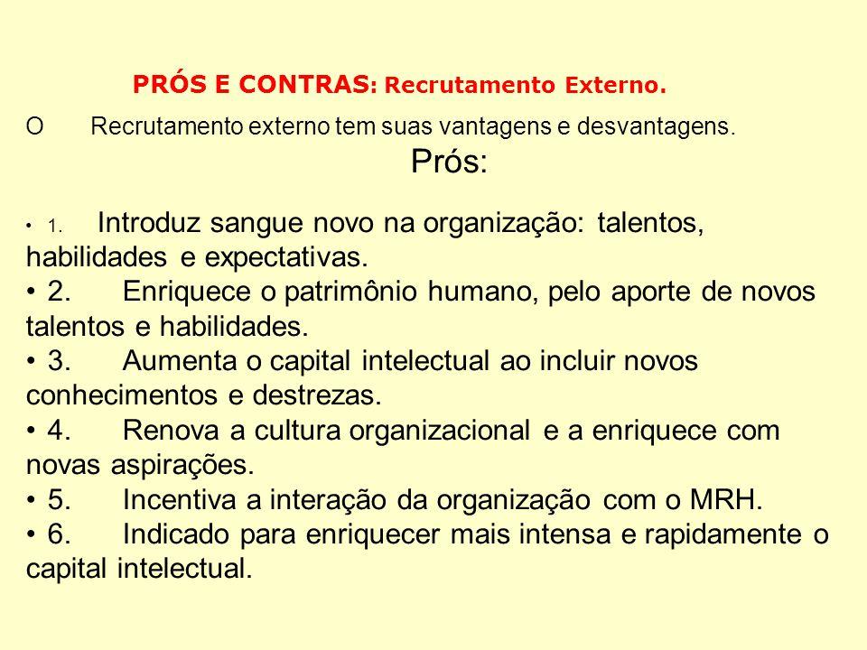 . As diferenças entre recrutamento interno e externo.