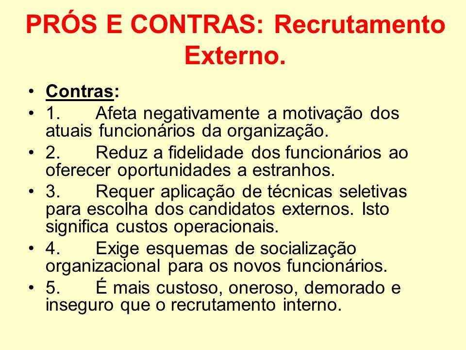O Recrutamento externo tem suas vantagens e desvantagens. Prós: 1. Introduz sangue novo na organização: talentos, habilidades e expectativas. 2. Enriq