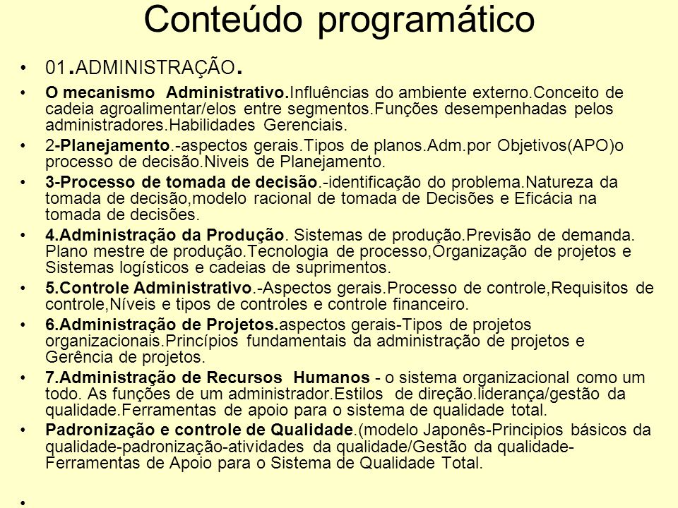 Conteúdo programático 01.ADMINISTRAÇÃO.