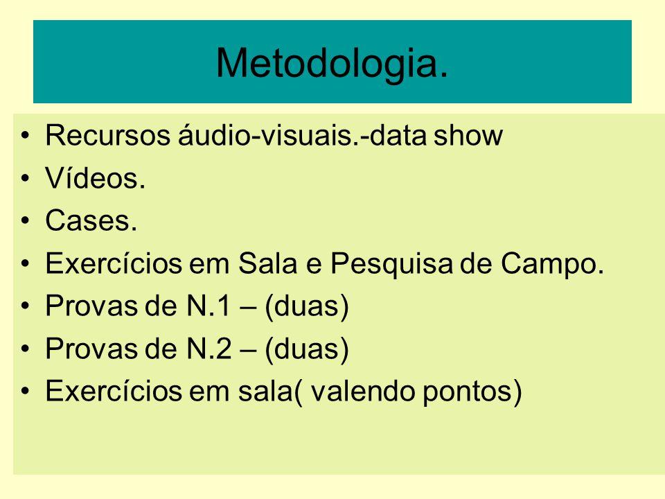 Metodologia.Recursos áudio-visuais.-data show Vídeos.