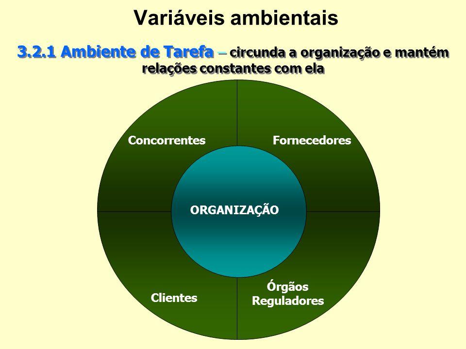 Variáveis ambientais - Cont... Ambiente Geral – É comum às diversas organizações, mas seu impacto não é necessariamente igual ou constante sobre elas