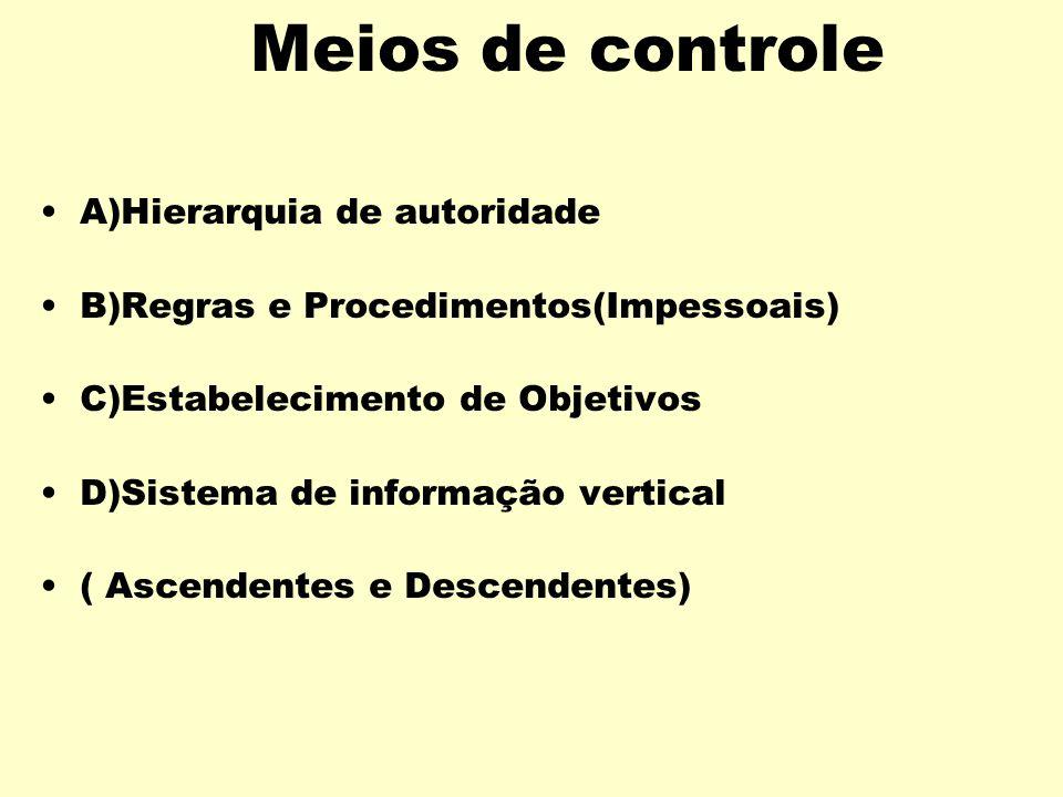 Tipos de Controle Controle Físico / Poder Coercitivo. É o controle baseado na ampliação de meios físicos, sanções, ou ameaças físicas, medo das conseq