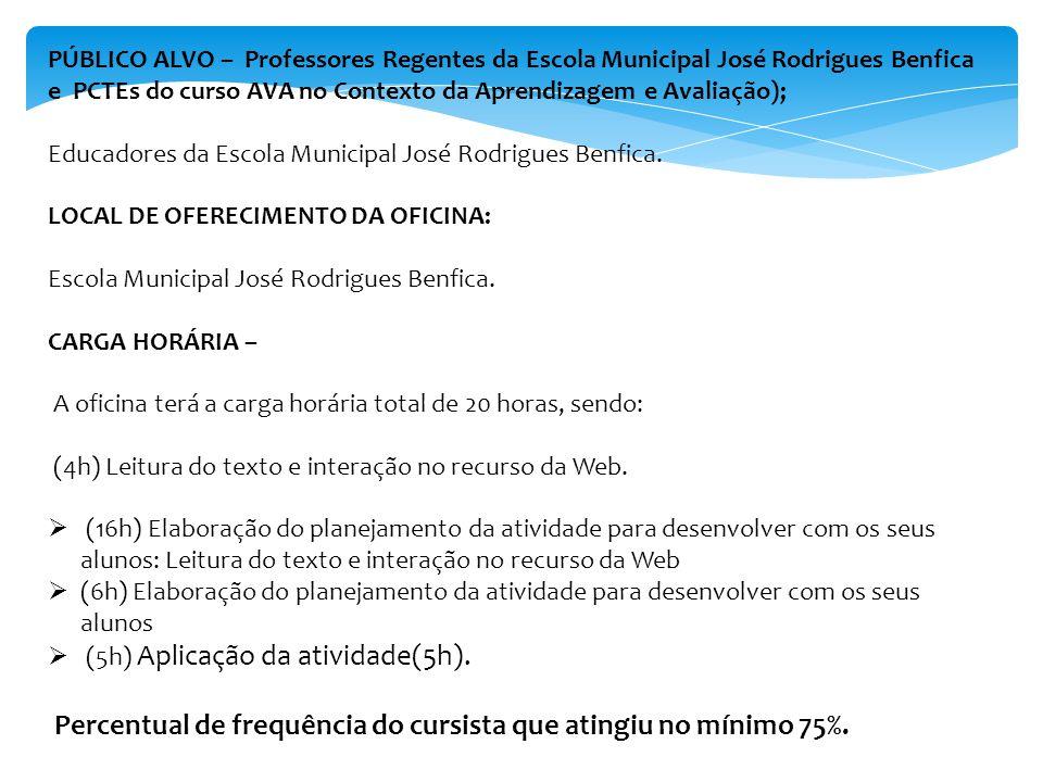 PÚBLICO ALVO – Professores Regentes da Escola Municipal José Rodrigues Benfica e PCTEs do curso AVA no Contexto da Aprendizagem e Avaliação); Educadores da Escola Municipal José Rodrigues Benfica.