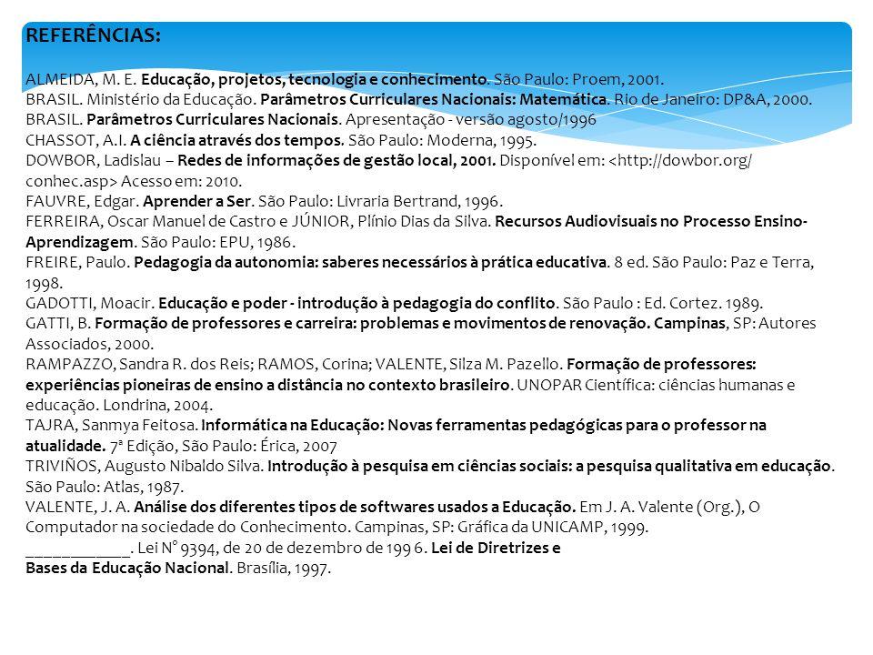 REFERÊNCIAS: ALMEIDA, M. E. Educação, projetos, tecnologia e conhecimento. São Paulo: Proem, 2001. BRASIL. Ministério da Educação. Parâmetros Curricul