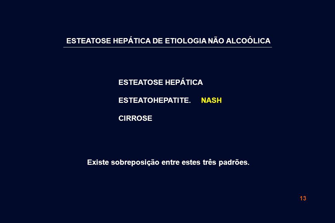13 ESTEATOSE HEPÁTICA ESTEATOHEPATITE. NASH CIRROSE Existe sobreposição entre estes três padrões. ESTEATOSE HEPÁTICA DE ETIOLOGIA NÃO ALCOÓLICA