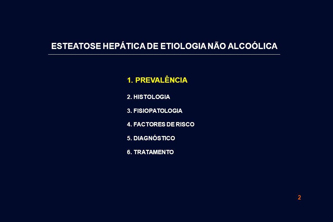 2 1. PREVALÊNCIA 2. HISTOLOGIA 3. FISIOPATOLOGIA 4. FACTORES DE RISCO 5. DIAGNÓSTICO 6. TRATAMENTO ESTEATOSE HEPÁTICA DE ETIOLOGIA NÃO ALCOÓLICA